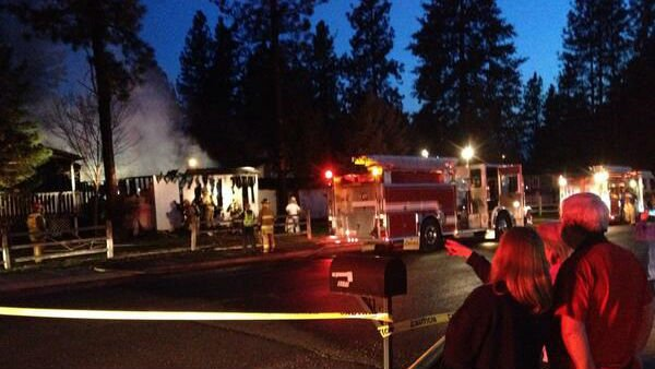 Firefighters responded to a structure fire in Mead Monday night.