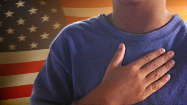 """A family is suing a New Jersey school district, contending that the phrase """"under God"""" in the Pledge of Allegiance discriminates against atheist children."""