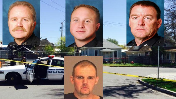 Detective Neil Gallion (Top Left), Ofc. Jay Kernkamp (Top Center) and Sgt. John Gately (Top Right) were identified on Friday as the officers who shot and killed murder suspect Jeremy Arnold (Bottom Center)