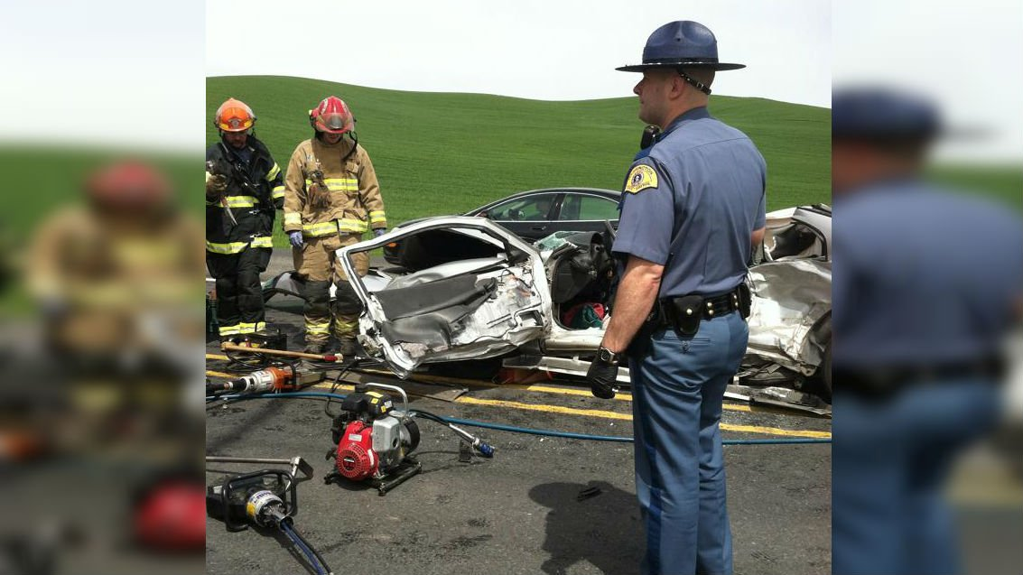 Two men were seriously injured in a car crash on 195 near Pullman on Thursday. (PHOTO Courtesy of John Yaw)