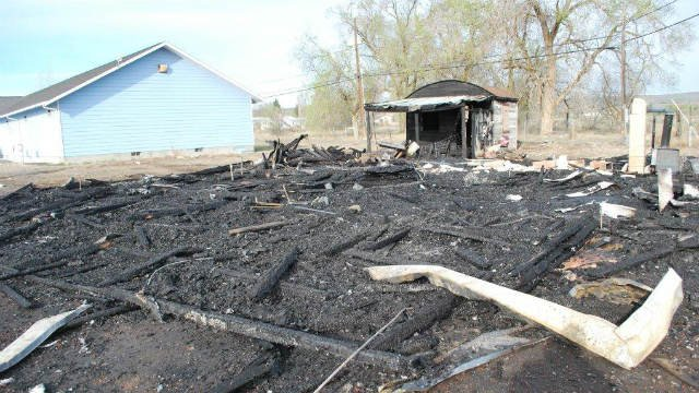 The remains of an unoccupied building near Soap Lake, Wash., burned down by a suspicious fire early April 10, 2014. Credit: Grant County Fire Marshal's Office