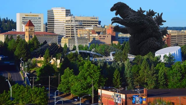 Obviously this picture is not real. We would've reported this had it actually happened. However, the Spokane portion of it was shot by Reed Schmitt.