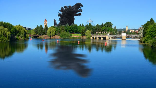 Godzilla taking a stroll through Riverfront Park. Again, this didn't really happen. We would've sent out a breaking news email alert that you can sign up for right here on khq.com, if it had actually taken place.