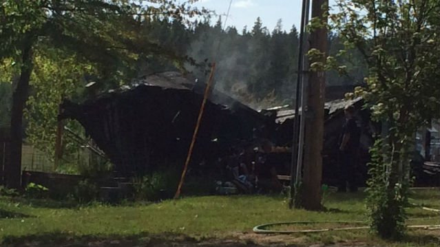 This storage shed was destroyed northeast of Chattaroy on Thursday