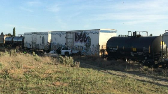 A train hit a truck near Warden on Thursday. Photo courtesy of the Grant County Sheriff's Office