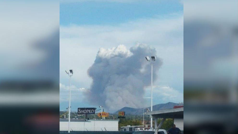 A large wildfire is burning just south of Wenatchee near Malaga. PHOTO: Carl Marlin in Wenatchee