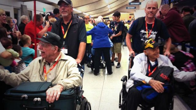 The first Honor Flight of the year came home from Washington, D.C. on Wednesday