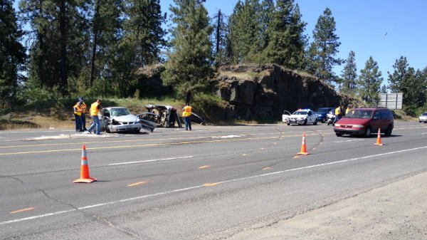 Three people were injured in this crash on Highway 2 Monday Morning in Airway Heights