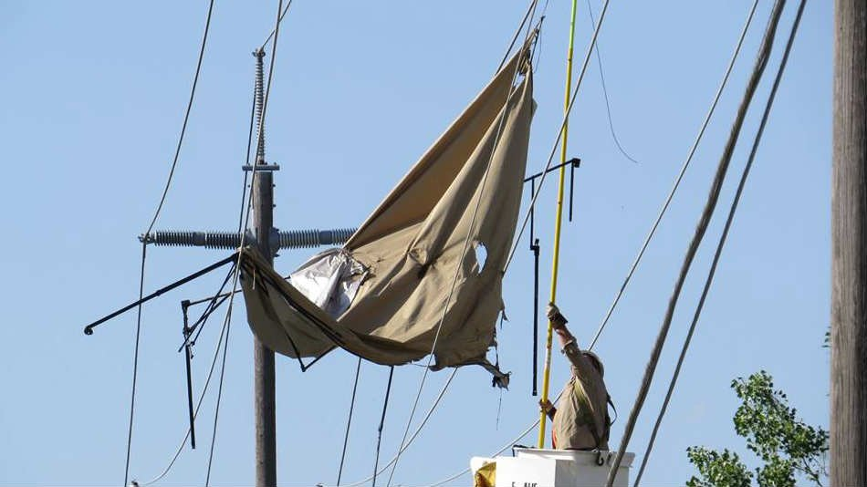 A pop-up canopy flew up into power lines, causing a major outage in Post Falls on Monday