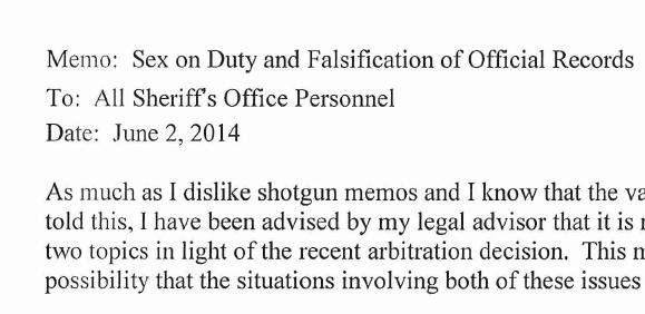 Sheriff Ozzie Knezovich sent a memo to all Sheriff's Office personnel saying that sex on duty would not be tolerated.