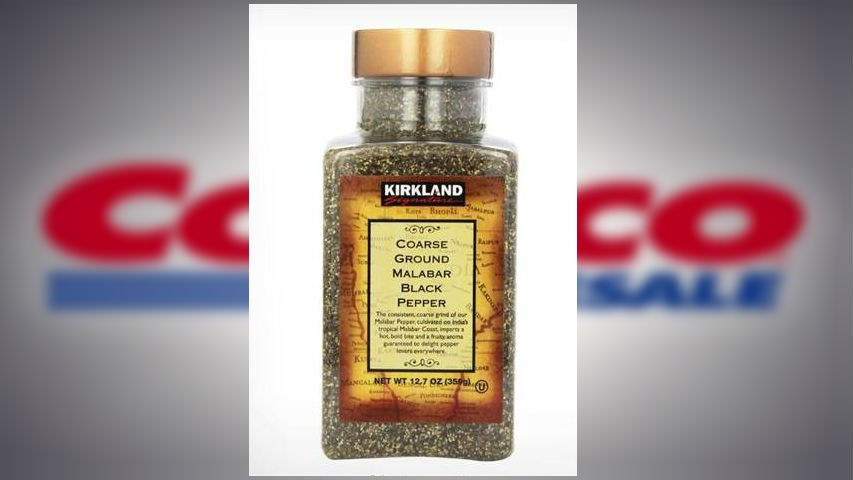 Costco Wholesale is warning between 130,000 and 140,000 members not to use certain packages of the firm's Kirkland Signature Coarse Ground Malabar Black Pepper because the spice might be contaminated with salmonella. (PHOTO: Costco, MGNOnline, & NBC News)