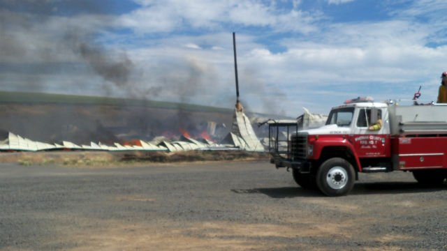 Rosalia A/P hangar fire. Photo courtesy of Rudy