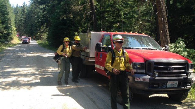 Firefighters battled a small brush fire south of Mt. Spokane on Monday