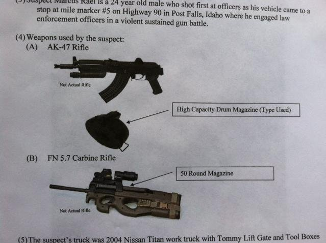 © Replica photos of the two semi-automatic weapons used against police in the I-90 shooting.
