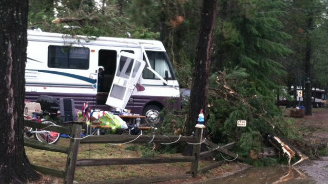 Several RVs and cars were damaged after a storm moved through the Athol area on Wednesday near Silverwood