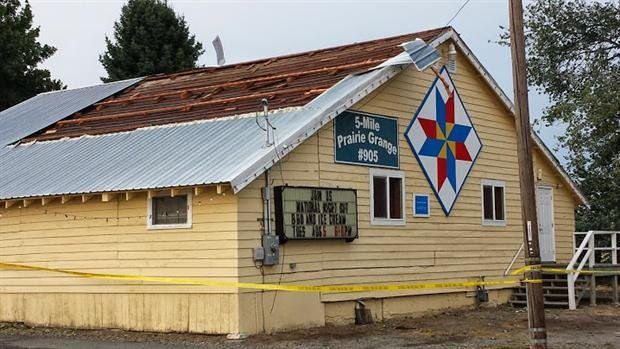 Winds ripped off the roof at the 5 Mile Grange in North Spokane