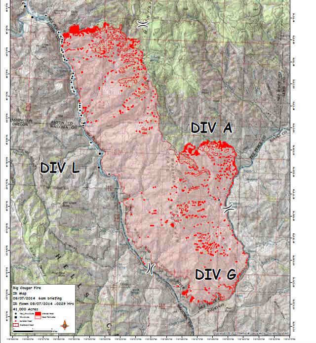 A map showing the perimeter of the Big Cougar Fire