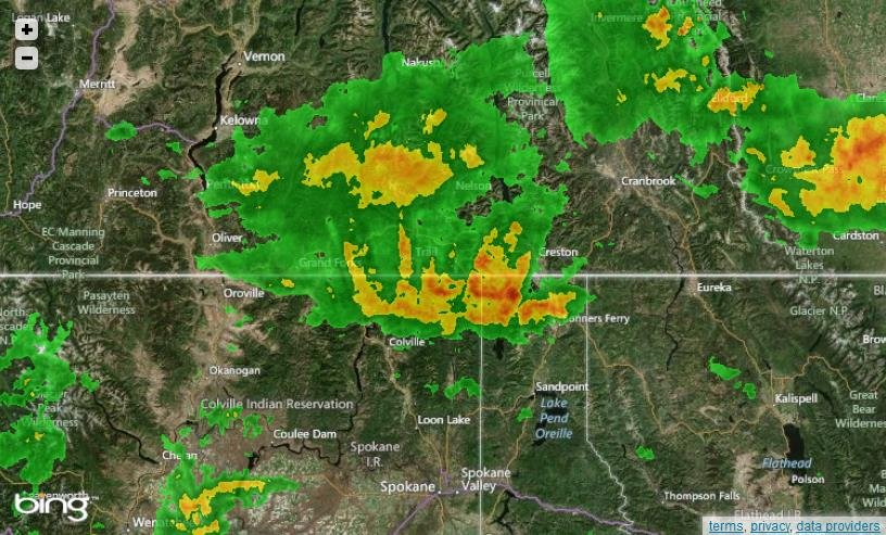 Screenshot of HD Doppler 6i Interactive Radar on KHQ.COM