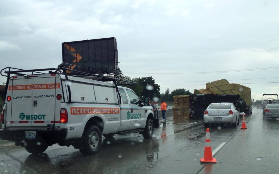 A semi-trailer overturn on I-90 near Argonne on Friday