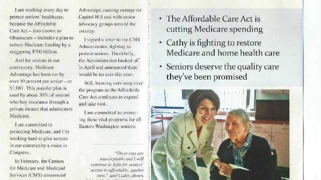 Two Liberty Lake residents are upset with Congresswoman Cathy McMorris Rodgers after they received this mailer about senior healthcare cutbacks that prominently featured a photograph of a deceased friend.