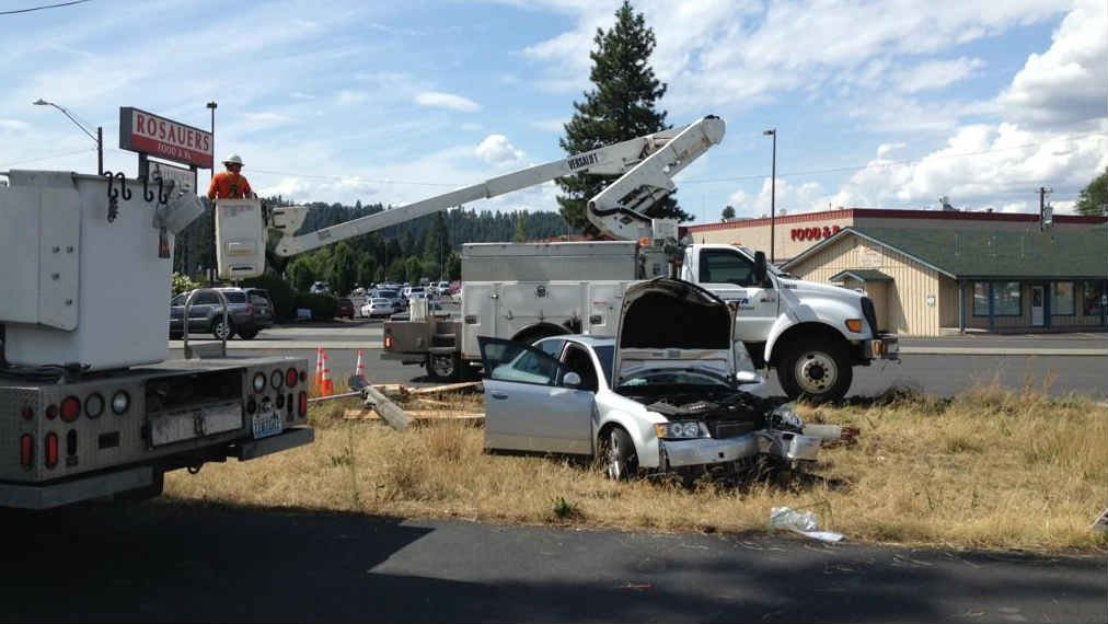 """A man hit a power pole on the Newport Highway near the """"Y"""" on Thursday afternoon."""