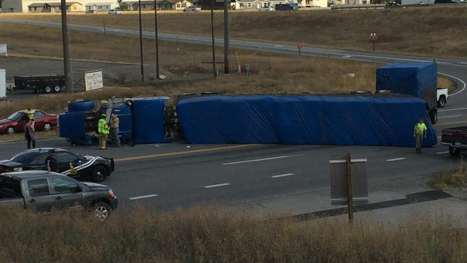 A semi-truck rolled on its side Thursday afternoon in Post Falls (PHOTO courtesy of KHQ Facebook follower Amanda Vold)