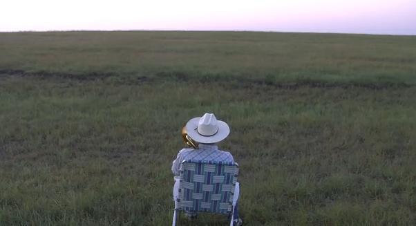 What happens when you play a trombone in an empty field? (PHOTO: Youtube/Farmer Derek Klingenberg)
