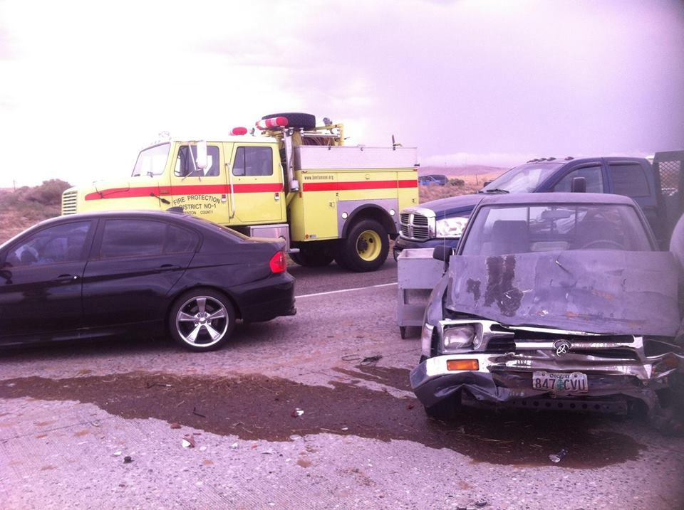 Damage left from I-82 crash near Locust Grove Rd.