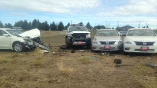 A man fell asleep at the wheel and crashed into a car dealership in Post Falls on Sunday night