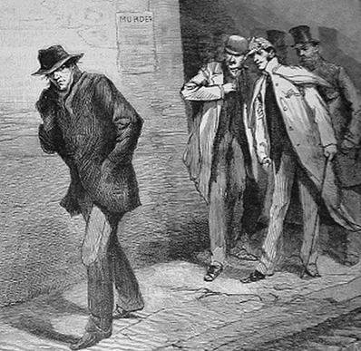 """JacktheRipper1888"" by Unknown (illustrator)Jack1956 (upload on en.wiki)?F? (file moved on Commons) - ""Illustrated London News"". Licensed under Public domain via Wikimedia Commons - http://commons.wikimedia.org/wiki/File:JacktheRipper1888.jpg#mediaviewer/"