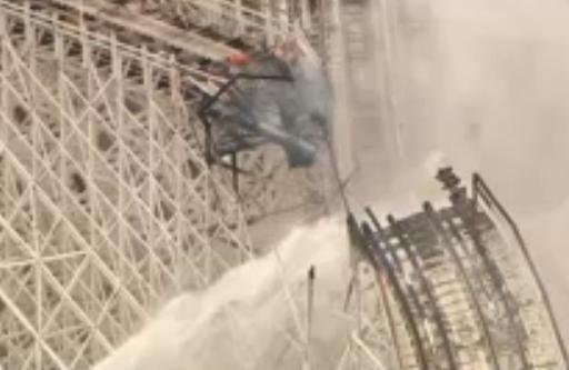 A fire on the recently closed Colossus ride at Southern California's Magic Mountain park has collapsed part of the famous wooden roller coaster but there are no reports of injuries.