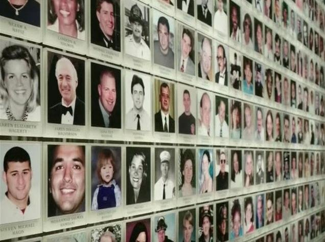 9/11 Memorial Museum wall showing photos of those lost, Photo Credit: CNN Screenshot, Photo Date: 5/14/2014