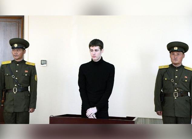 American Matthew Todd Miller in North Korean Court , Photo Date: September 14, 2014