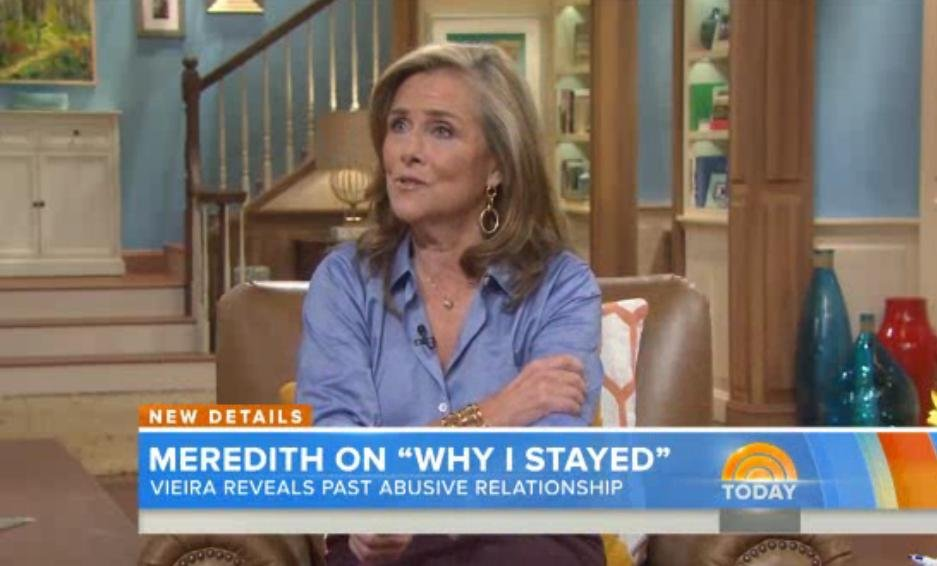 Meredith Vieira reveals past abusive relationship.