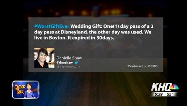 Jimmy Fallon asks viewers to tweet #WosrtGiftEver