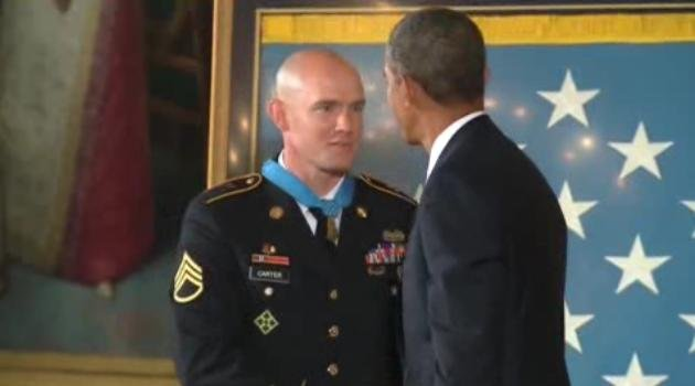 Ty Carter in Washington, D.C. being presented with the Medal of Honor by President Obama
