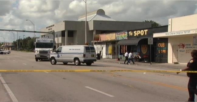 """Exterior of """"The Spot,"""" where 15 people were injured in a shooting early Sunday morning"""