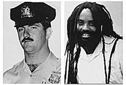 Left, Philadelphia police officer Daniel Faulkner; Right, Mumia Abu-Jamal convicted for the December 1981 murder