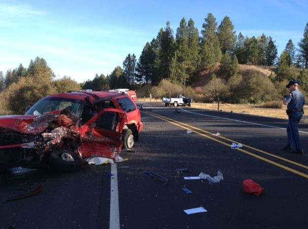 The teen driving this red SUV admitted to texting and driving whenhe hit the blue truck head-on.
