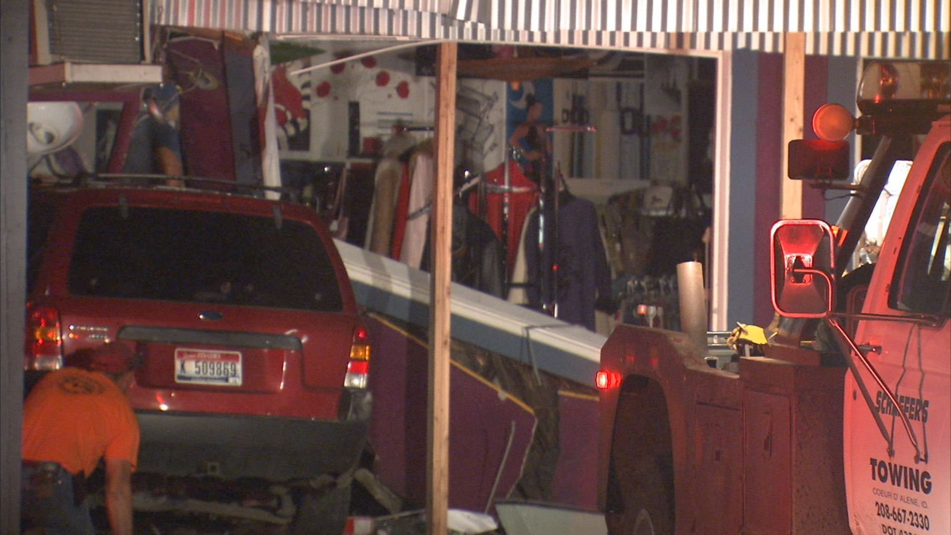 An SUV crashed into a boutique Sunday night in Coeur d'Alene