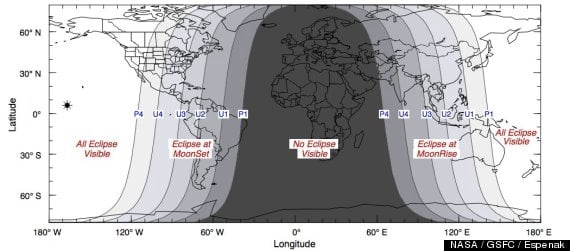 This map shows the best areas for viewing the lunar eclipse. (MAP Courtesy of NASA)