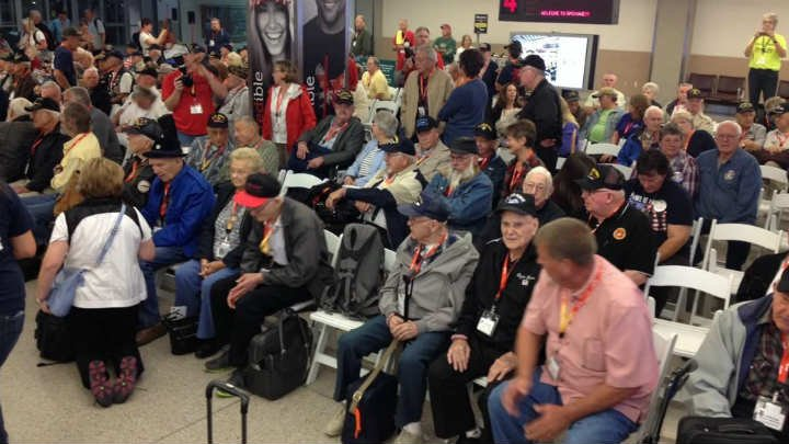 Wednesday morning 90 veterans took off from Spokane International Airport for the Inland Northwest Honor flight.