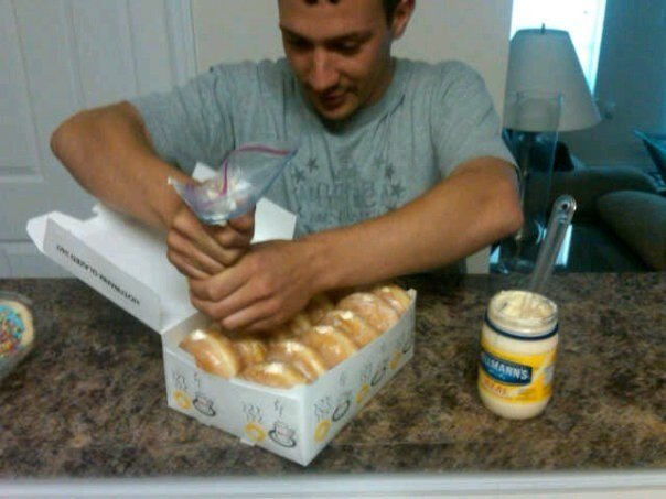Step 1: fill doughnuts with mayonaise. Step 2: watch chaos ensue