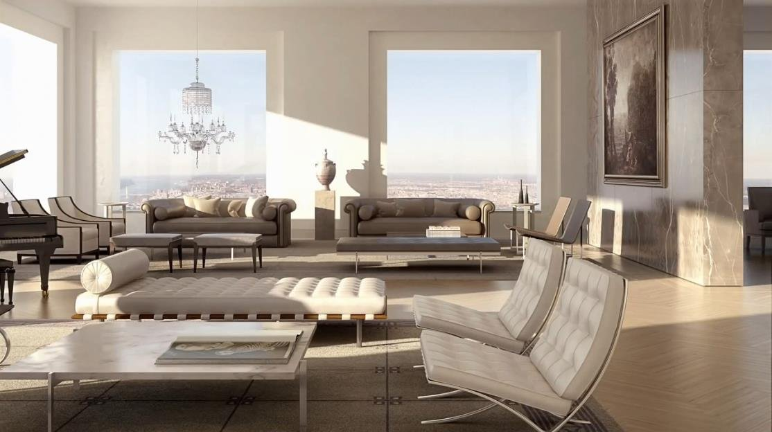 View from the family room of a luxury apartment in the newest and tallest skyscraper in NYC.