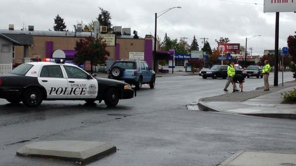 A person was taken to the hospital after being hit by a car in northwest Spokane Wednesday afternoon.