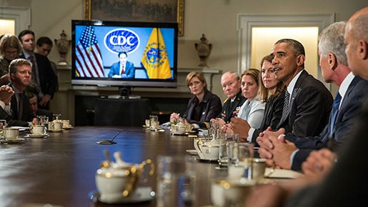 After meeting with his Cabinet officials and Dr. Tom Frieden of the Centers for Disease Control and Prevention (CDC), the President updated the country on our comprehensive strategy to contain the Ebola disease, prevent its spread in the U.S., and combat