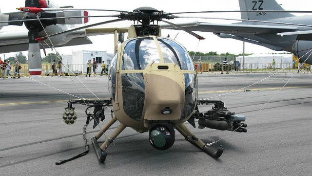 AH-6 helicopters similar to this one were part of the Ranger training exercise over Spokane this week. (PHOTO: Wikipedia/Dave1185 used C.C. by SA 3.0)