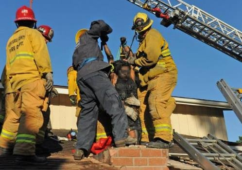 Woman trapped inside a chimney in Ventura County. (Photo Credit: Ventura County Fire Department)