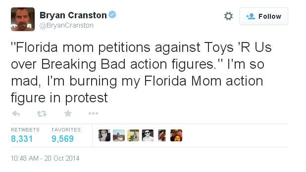 Breaking Bad actor Bryan Cranston's response to a Florida mom taking issue with Toys 'R' Us selling Breaking Bad action figures (PHOTO: Twitter)