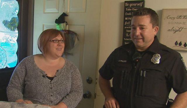 Spokane Police Officer Shane Phillips meets Angela Kyllonen, the mother of the teen he saved